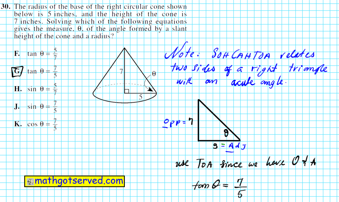Using Sohcahtoa to find the expression for the base angle of a cone geometry trigonometry triangles
