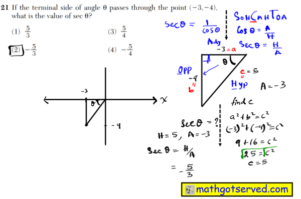 21 If the terminal side of angle θ passes through the point (3,4), what is the value of sec θ? (1) 5 __ 3 (3) 5 __ 4 (2)  5 __ 3 (4)  5 __