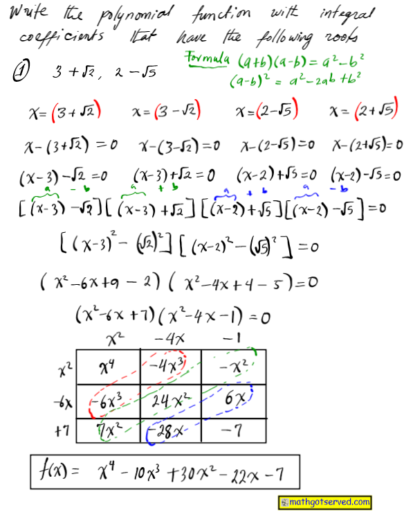 how to write polynomials integer coefficients given roots least degree integer