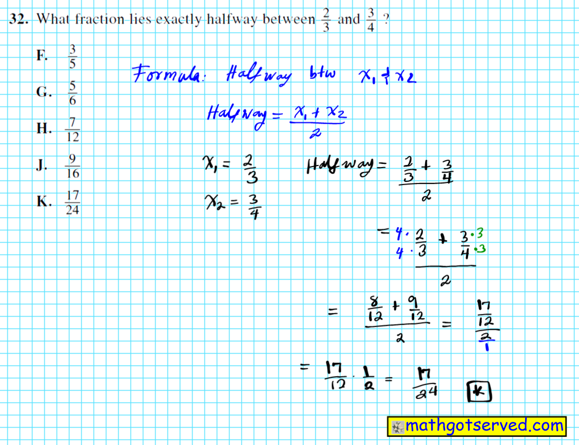 finding the midpoint or halfway of two fractional values