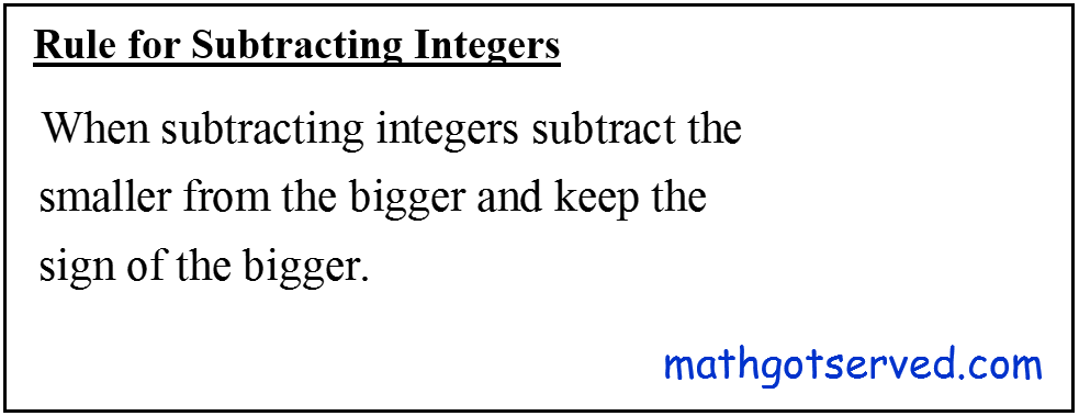 Rules for subtracting Integers Cbest formula